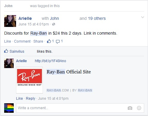 Ray Ban Facebook Scam Friend