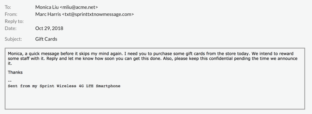 Gift card phishing scam